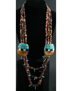 """Ava Marie Coriz """"Cool-Ca-Ya"""" (1948-2011) - Santo Domingo Spiny Oyster Three Strand Necklace with Turquoise, Abalone, Jet, and Heishi, 34"""""""