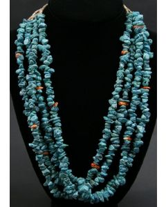 "Ava Marie Coriz ""Cool-Ca-Ya"" (1948-2011) - Santo Domingo (Kewa) Turquoise, Heishi and Spiny Oyster Four Strand Necklace, 24"" (J90106-1211-005)"