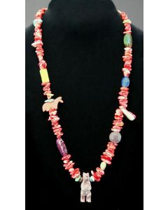 """Ava Marie Coriz """"Cool-Ca-Ya"""" (1948-2011) - Santo Domingo Spiny Oyster and Turquoise Fetish Necklace, 24"""""""
