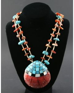 """Ava Marie Coriz """"Cool-Ca-Ya"""" (1948-2011) - Santo Domingo Two Strand Heishi, Turquoise and Spiny Oyster Necklace with Shell Pendant, 30"""""""