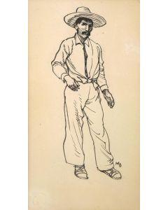 Maynard Dixon (1875-1946) - SOLD - Costume Sketch - Tucson: c. 1860-1880 - Peon