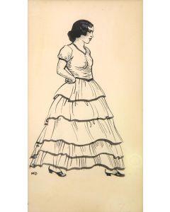Maynard Dixon (1875-1946) - SOLD - Costume Sketch - Tucson: c. 1860-1880 - Senorita