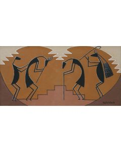 SOLD Pablita Velarde (1918-2006) - Dancers and a Flute Player