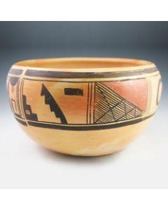 """Hopi Polychrome Bowl c. 1940s, 6"""" x 10.25"""" (P90490-0413-001)"""