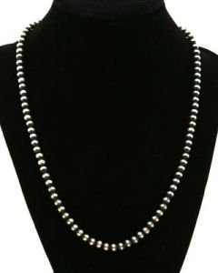 "Lawrence Baca - 20"" 5mm Sterling Silver Baca Bead Necklace"