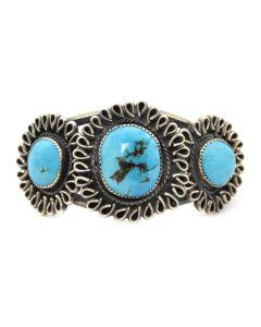 Pueblo Morenci Turquoise and Silver Bracelet c. 1940s, size 6.75 (J4068)