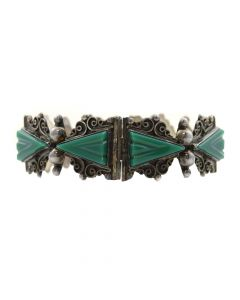 Mexican Green Onyx and Silver Hinge Bracelet, circa 1950s, Size 7