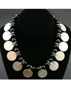 SOLD Miramontes Necklace of Onyx Beads and 16 Barber Silver Quarters from c. 1894-1916