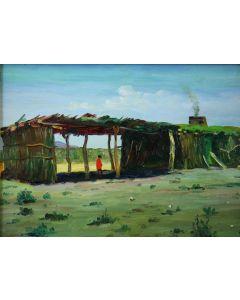 SOLD E. A. Burbank (1858-1949) - Pima Indian Home - Sacaton, Arizona