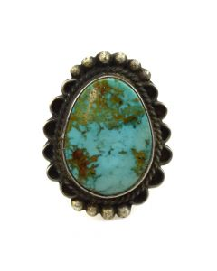 John Yazzie - Navajo Turquoise and Silver Ring c. 1970s, size 10.25