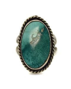 Rose Jackson - Navajo Turquoise and Silver Ring c. 1960s, size 7.5