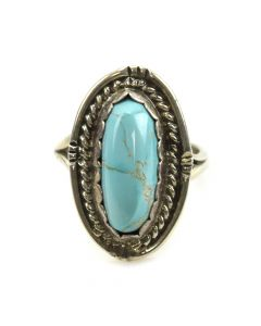Rose Jackson - Navajo Turquoise and Silver Ring c. 1960s, size 3.75