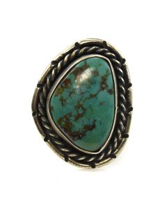 Ervin Tenason - Navajo Turquoise and Silver Ring c. 1960s, size 7.25