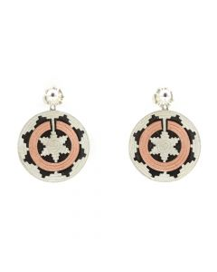 """Roland Begay - Contemporary Navajo Sterling Silver and Copper Overlay Wedding Basket Earrings, 1"""" diameter"""