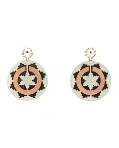 """Roland Begay - Navajo Sterling Silver and Copper Overlay Wedding Basket Earrings, Contemporary 1"""" diameter"""