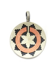 """Roland Begay - Navajo Contemporary Sterling Silver and Copper Overlay Wedding Basket Pendant, 1.25"""" diameter"""