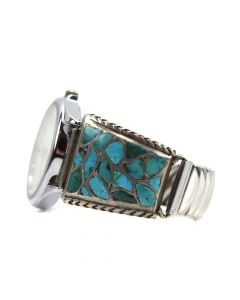 Zuni Turquoise Channel Inlay and Silver Watchband c. 1950s, size 6.5