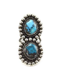 Navajo Bisbee Turquoise and Silver Ring c. 1950s, size 6.5