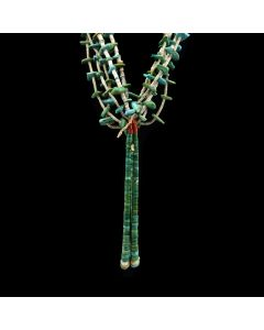 """Navajo Turquoise, Coral and Heishi Necklace c. 1900-20s, 48"""" length"""