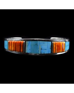 Timmy Yazzie - Navajo/San Felipe Contemporary Turquoise, Spiny Oyster and Sterling Silver Bracelet, size 6.75 (J10038)4