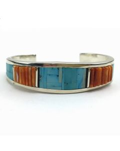 Timmy Yazzie - Navajo Turquoise, Spiny Oyster and Sterling Silver Bracelet, size 7