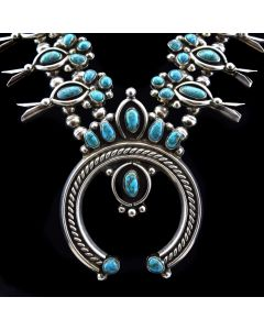 "Tim Kee Whitman - Navajo Lone Mountain Turquoise and Silver Squash Blossom Necklace c. 1970s, 24"" length"