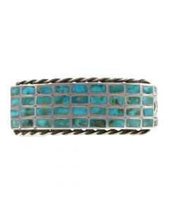 Zuni Turquoise Channel Inlay and Silver Stamped Bracelet with Rope Design c. 1940s, size 7.25