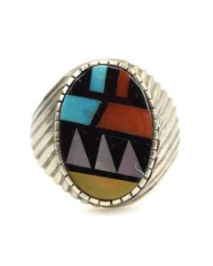 Zuni Multi-stone Inlay and Silver Ring c. 1980s, size 10