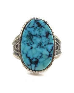 Ervin Hoskie - Navajo Kingman Turquoise and Sandcast Silver Ring c. 1970s, size 9