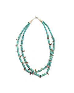 "Navajo Turquoise and Spiny Oyster Heishi Necklace c. 1970s, 22"" length"