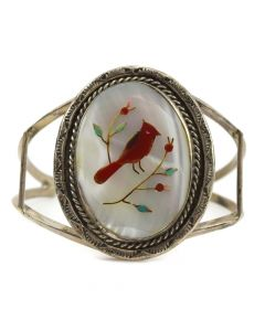 Zuni Multi-Stone Inlay and Silver Bracelet with Cardinal Pictorial c. 1960s, size 6.5