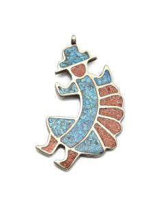 "Zuni Turquoise, Coral and Silver Inlay Rainbow God Pendant c. 1970s, 2"" x 1.25"""
