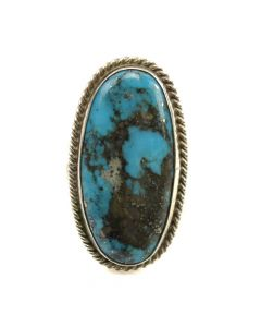 Navajo Morenci Turquoise and Silver Ring with Rope Design c. 1980s, size 8