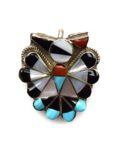 """Zuni Multi-Stone Channel Inlay and Silver Pendant with Silver Chain c. 1960s, 18"""" length"""
