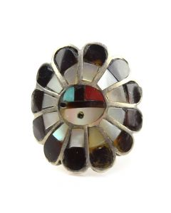 Zuni Multi-Stone Channel Inaly and Silver Sunface Kachina Ring c. 1960s, size 5.5