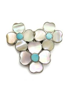 """Zuni Turquoise, Mother of Pearl Channel Inlay and Silver Flower Pin/Pendant c. 1970s, 1.25"""" x 1.375"""""""