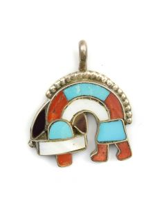 "Zuni Multi-Stone Channel Inlay and Silver Rainbow God Pendant c. 1950s, 1"" x 0.75"""
