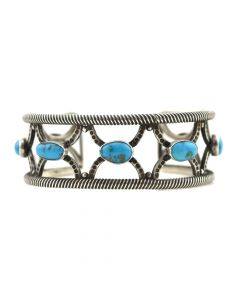 Navajo Turquoise and Silver Bracelet with Rope Design c. 1920-30s, size 7
