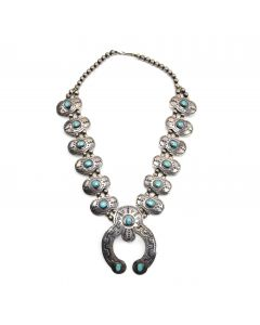 "Harold Koruh - Hopi Turquoise and Silver Overlay Squash Blossom Necklace c. 1940-50s, 26"" length"