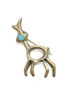 "Navajo Turquoise and Silver Deer Pin c. 1960s, 1.375"" x 1.25"""