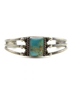 Navajo Turquoise and Silver Child's Bracelet c. 1930s, size 3.5