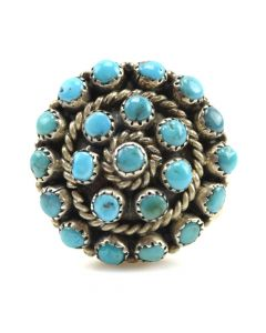 Zuni Turquoise Cluster and Silver Ring c. 1940s, size 4