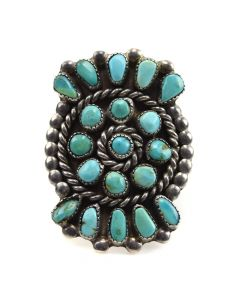 Navajo Turquoise and Silver Ring c. 1940-50s, size 11.25