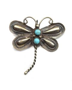 "Navajo Turquoise and Silver Dragonfly Pin c. 1970s, 2"" x 1.75"""