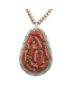 "Navajo Coral and Silver Pendant with Chain c. 1970s, 30"" length"