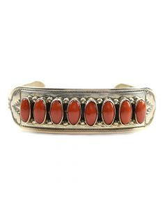 Wallace Yazzie, Jr. - Navajo Coral and Silver Bracelet c. 1970s, size 6.5