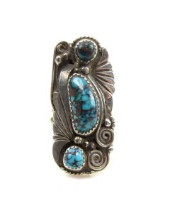 Navajo Turquoise and Silver Ring c. 1970s, size 7