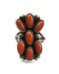 Navajo Coral and Silver Ring c. 1940-50s, size 5