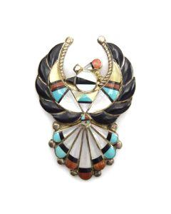 "Verdel and Esther Niiha - Zuni Multi-stone Inlay and Silver Thunderbird Pin, 2.5"" x 1.625"""