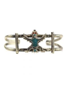 Zuni Turquoise and Silver Knifewing God Bracelet c. 1970s, size 6